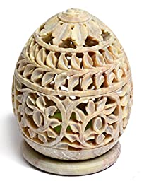 Artist Haat Handcrafted Soapstone Oval Shaped Tea Light Candle Holder with Floral Jali - Lattice Work (Beige, 10*10*19 cm Approx.)