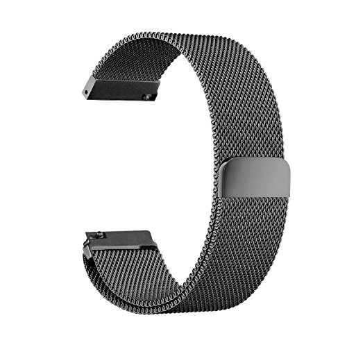 Kartice Milanese Loop Strap Magnetic Stainless Steel Replacement Buckle Wrist Band for Samsung Gear Sport Watch/Garmin vivoactive 3/Gear S2--Black