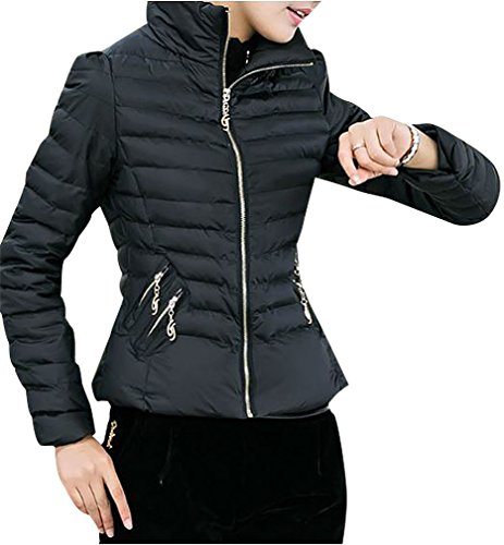 US&R Women's Casual Fitted Puffer Jacket Short Waterproof Zipped Bomber Coat, Black Medium