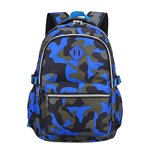 Ladyzone Camo School Backpack Lightweight Schoolbag Travel Camp Outdoor Daypack Bookbag for Your Children (Camouflage Blue(NS))