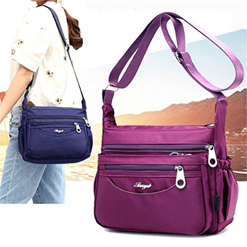 Bags Travel for Crossbody Light JOSEKO Dark Multi Bags Dark Women Pockets Purple Waterproof Casual Outdoor Shoulder Purple Uqn0XSn