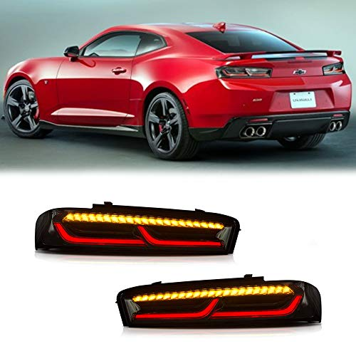 Chevrolet Camaro Tail - A&K Smoke Clear Lens LED Tail Light For 2016 2017 Chevy Chevrolet Camaro 6th Gen Accessories Driver & Passenger Side Prefacelift Full LED Rear Brake Lamp Assembly w/Sequential Turn Signal