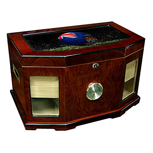 (Large Premium Desktop Humidor - Glass Top - Flag of Cayman Islands (Caymanian) - Soccer Design - 300 Cigar Capacity - Cedar Lined with Two humidifiers & Large Front Mounted Hygrometer.)