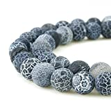 frosted glass gems - BEADNOVA 8mm Natural Black Frosted Agate Unpolished Cracked Matte Gemstone Gem Strand Round Loose Beads for Jewelry Making