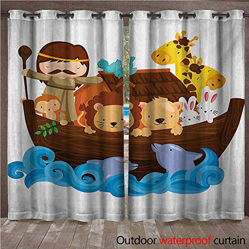 WilliamsDecor Religious Home Patio Outdoor Curtain Historical Story of The Ark with All Animals Saving Nature Grace Illustration W96 x L96(245cm x 245cm)