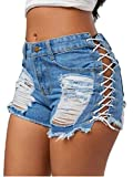 Nicetage Casual Summer Mid Waist Stretchy Denim Jean Shorts Junior Short Jeans (Duan Blue, XL)