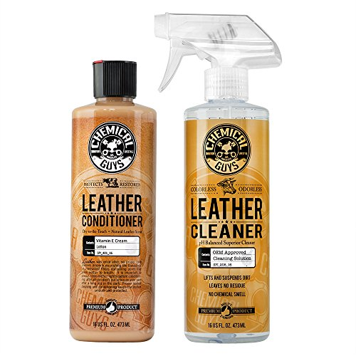 Chemical Guys Leather Cleaner and Conditioner Complete Leather Care Kit (16 oz) (2 Items) (Faux Leather Durability)