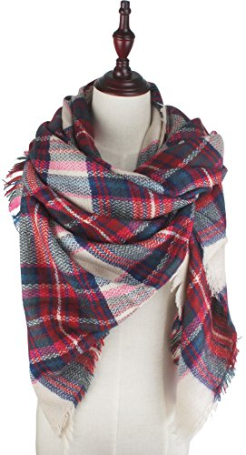 Blanket Red Tartan (Vivian & Vincent Soft Classic Luxurious Blanket Tartan Square Scarf Wrap Red Blue C12)