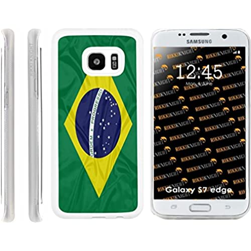 Rikki Knight Brazil Flag Design Samsung Galaxy S7 Edge Case Cover (Clear Rubber with front Bumper Protection) for Samsung Galaxy S7 Edge ONLY Sales