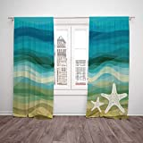 Thermal Insulated Blackout Window Curtain,Abstract Home Decor,Abstract Design Modern Illustration of Waves Starfish Sandy Beach Aquatic Theme,Blue Beige,Living Room Bedroom Kitchen Cafe Window Drapes