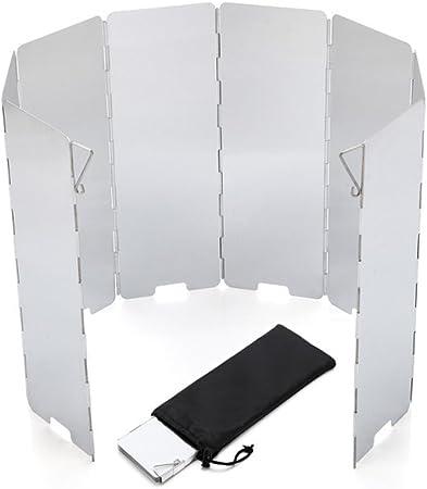 EBILUN Con material de aleación de aluminio portátil plegable de 8 placas quemador para acampar al aire libre, barbacoa, cocina, picnic, estufa de gas