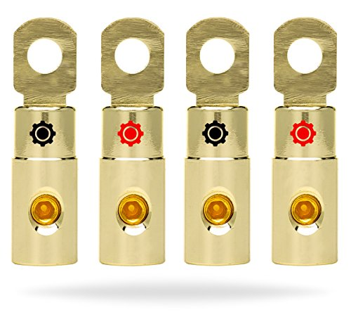 InstallGear 4 AWG Gauge Gold Ring Set Screw Battery Ring Terminals (4 Pack) ()