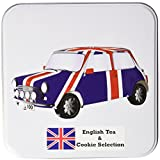 jack and ginger - Keep Calm and Carry On English Tea and Cookie in British Heritage Union Jack Car Metal Tin (40 Teabags, 100g Cookies)