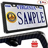 License Plate Frames Carbon Fiber Metal License Plate Frames Slim Standard Size With Screw Covers (2 holes-1piece)