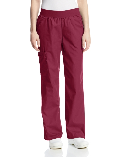 Cherokee Women's Scrubs Flexibles Mid-Rise Knit Waist Pull-On Missy Fit Pant, Wine, Small (Rise Rings)