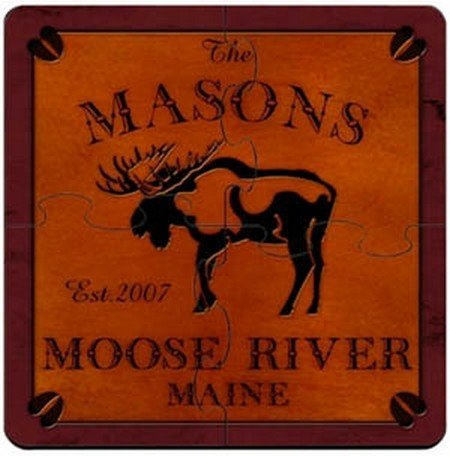 Personalized Cabin Series Coaster Puzzle Set - Moose Coaster Puzzle - Series Cabin Set Coaster