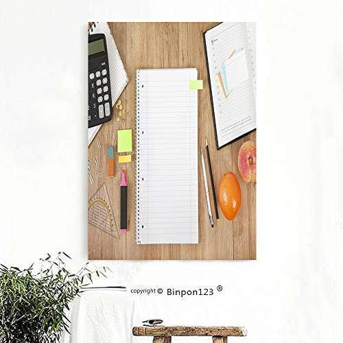 Binpon123 Custom Canvas Wall Art Painting a calendar and a notepad lying on a desk with pencils and calculator