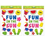 Sun-Sational Summer Luau Party ''Fun in the Sun'' and Summer Essentials Gel Cling Sticker Decoration, Rubber, 15'' x 12'' (Pkg. Size) (pack of 2)