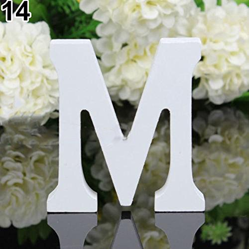(qiguch66 Decorations for Living Room, White Wooden Letter Capital Bridal Party Home Shop Name Decor Wedding Favour - M)