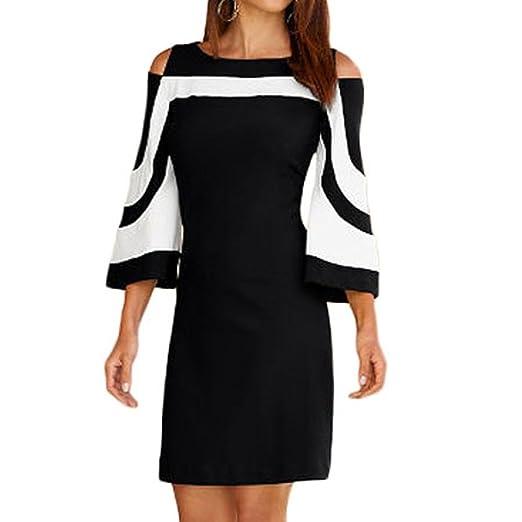 Lamolory Women Off Shoulder Ruffles Bodycon Mini Dress Evening Party Dress (Black, S)