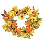 Yezijin Christmas Garlands, 30×40cm Heart-Shaped Sunflower Wreath Wall Ornament Christmas Thanksgiving Decor