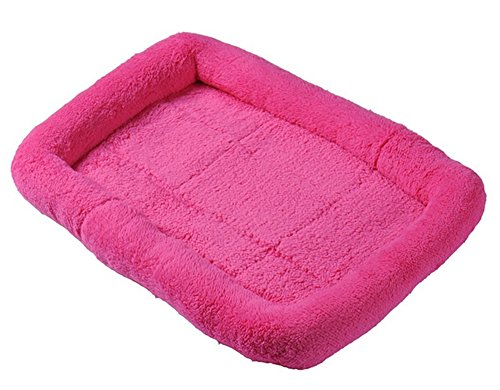 (nobrand Machine Washable Pet Padded Bed for Small Cat and Dog, Size Small, Big, Non-Slip Cozy Cashmere Bed with Waterproof Bottom 4Colors (Small, Hotpink))