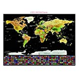 Unistore- 82.5CM * 59.4CM Scratch off world map Poster. Perfect tool for travelers and teaching tool for children-Travel Journal Gold Edition. FREE Scratcher included.