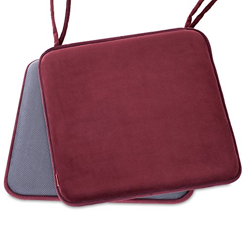 Shinnwa Dining Chair Pads,2 Pack Non Slip Memory Foam Kitchen Chair Cushions Pads with Ties and Gripper Backing by (16″ Square,Velvet Burgundy)