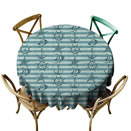 Jbgzzm Oil-Proof and Leak-Proof Tablecloth Ships Wheel Decor Retro Nautical Pattern with Ship Wheel Anchor and Starfish on Striped Background Party D35 Teal ()