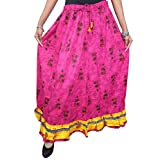 Mogul Women's Flared Skirts India Pink Floral Printed Cotton Boho Gypsy Skirt M