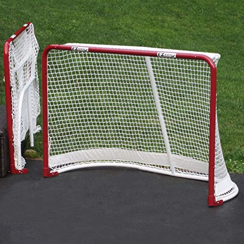 EZGoal Hockey Folding Pro Goal, 2-Inch, Red/White - On Goal Net