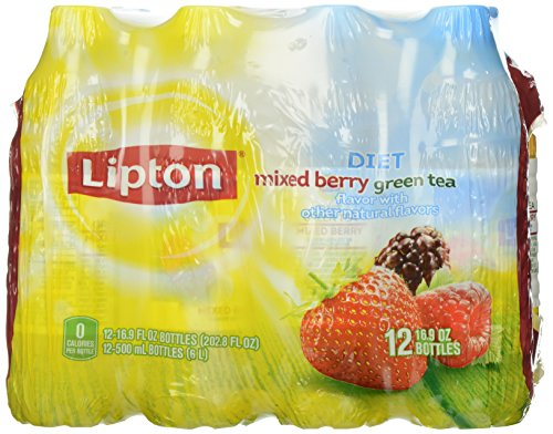 Lipton Diet Green Tea with Mixed Berry, 12-Pack, 16.9 oz Bottles