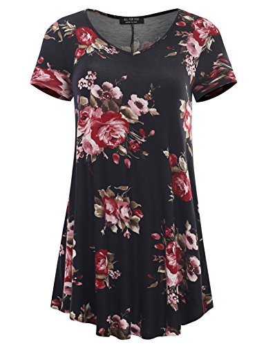 A.F.Y Women's Short Sleeve V-Neck Flare Hem Floral Print Tunic Black 7540 X-Large (Tunic Top Womens)