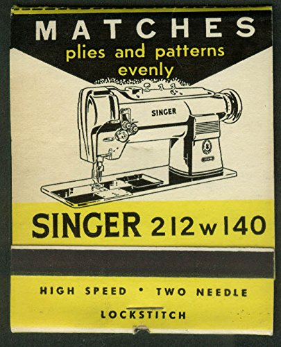 Matchbook Stick (Singer Sewing Machine 212 w 140 advertising jumbo matchbook printed sticks)