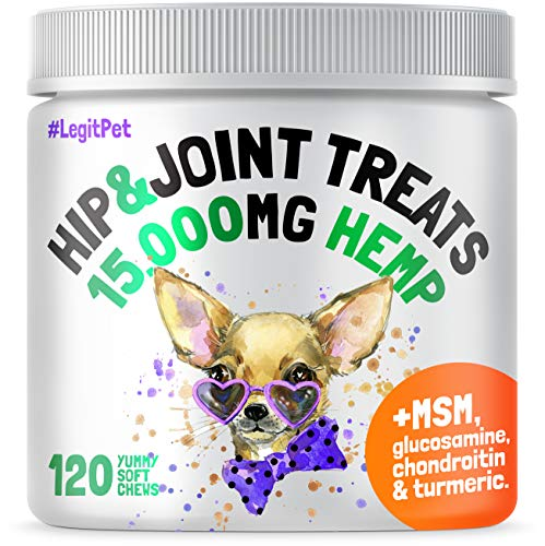 LEGITPET-Hemp-Hip-Joint-Supplement-for-Dogs-120-Soft-Chews-Made-in-USA-Glucosamine-for-Dogs-Chondroitin-MSM-Turmeric-Hemp-Seed-Oil-Natural-Pain-Relief-and-Mobility