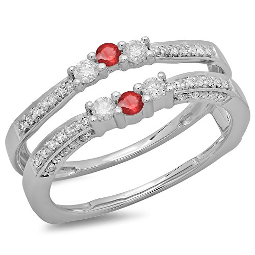 14K White Gold Round Genuine Ruby & White Diamond Ladies Wedding Band Enhancer Guard Ring -