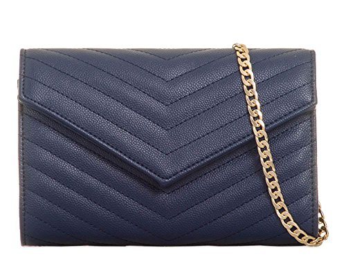 Evening Bag Ladies Navy Clutch Chain Envelope Leather Faux Quilted Strap 8qwa7Y8