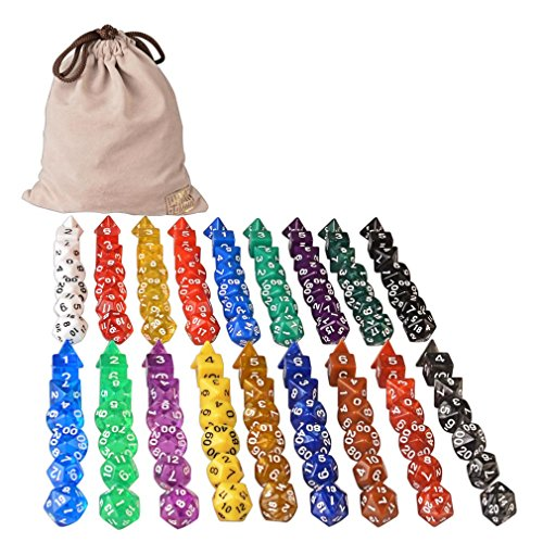 126 Polyhedral Dice – 18 colors w/ Complete set of d4 d6 d8 d10 d12 d20 d%