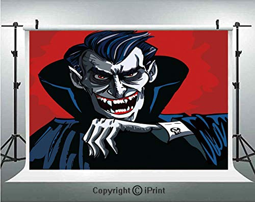 (Vampire Photography Backdrops Cartoon Cruel Old Man with Cape Sharp Teeth Evil Creepy Smile Halloween Theme,Birthday Party Background Customized Microfiber Photo Studio Props,8x8ft,Blue Red)