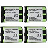 4Pack 3.6V 850mAh Rechargeable Cordless Phone Battery With High Quality For PANASONIC HHR-P104 HHR-P104A, Office Central