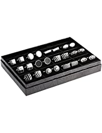 12 Pairs Cufflinks Set Gifts for Men Vintage Wedding Tuxedo Shirt Cuff Links Silver & Black