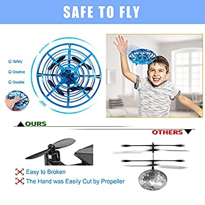 Hand Operated Drone for Kids Adults Mini Drones with 5 Magical Sensors and LED Lights Hand Free Kids Drone for Boys and Girls Self Flying Drone (Blue): Toys & Games