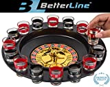 Shot Glass Roulette Drinking Game Set With Wheel, 2 Balls and 16 Glasses by Better Line