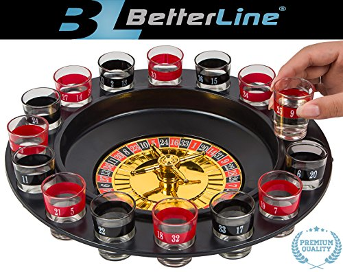 BETTERLINE Shot Glass Roulette Drinking Game Set Spinning Wheel, 2 Balls 16 Shot Glasses