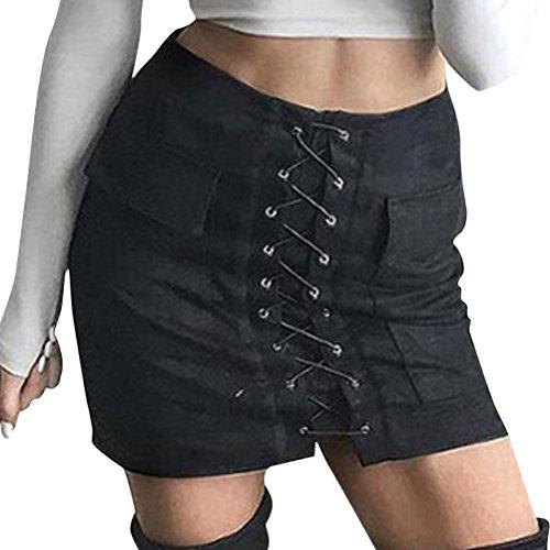 FuweiEncore Jupe Femme Retro A-Line Mini Jupe Taille Haute Zipp Faux Cuir Mini Jupe Courte Noir