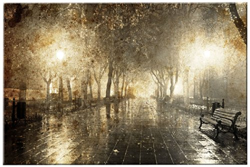Picture Sensations Glow in The Dark Canvas Wall Art, Night Cityscape Street Light by Picture Sensations