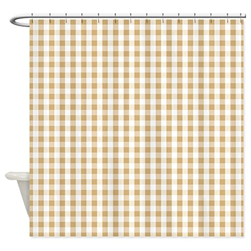 OneHoney Light Brown White Gingham Pattern Shower Curtain,Waterproof and Mildewproof Polyester Fabric Bath Curtain Extra Long 72x84inch (Gingham Brown White)