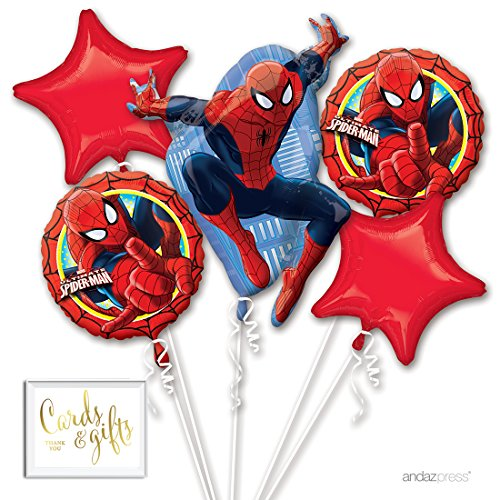 Andaz Press Balloon Bouquet Party Kit with Gold Cards & Gifts Sign, Spiderman Birthday Foil Mylar Balloon Decorations, (Spider Man Foil Balloon)