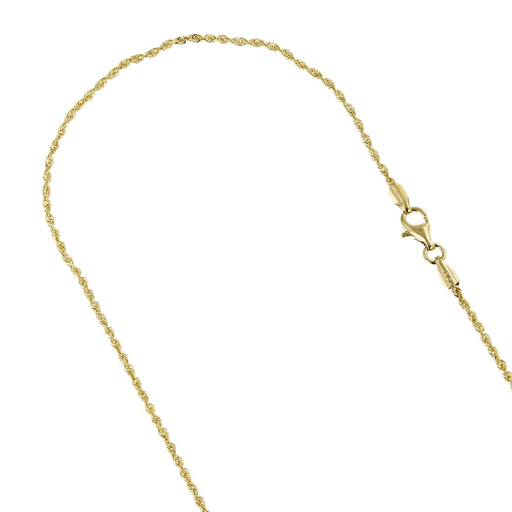 LUXURMAN Solid 10K Yellow Gold 2mm Rope Chain Diamond Cut Link Bracelet Anklet Lobster Clasp (10'' long)