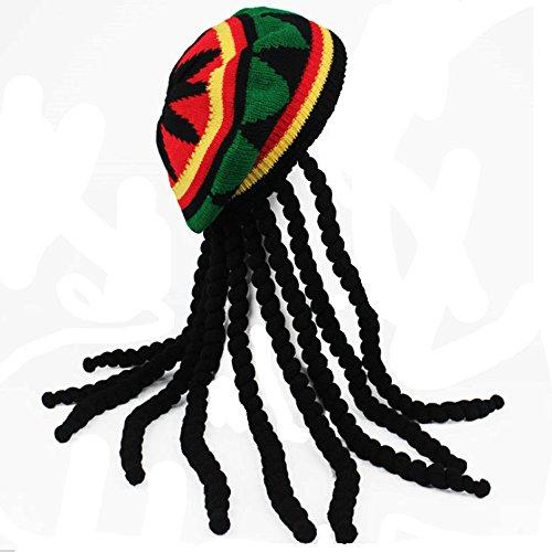 HZYFP Dreadlocks Wig Hat Reggae Jamaican Style Rasta Hat Crocheted Knitted Beret Cap Long Black Hair (Dreadlocks Costumes)